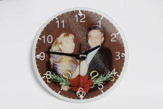 Большие стеклянные круглые часы